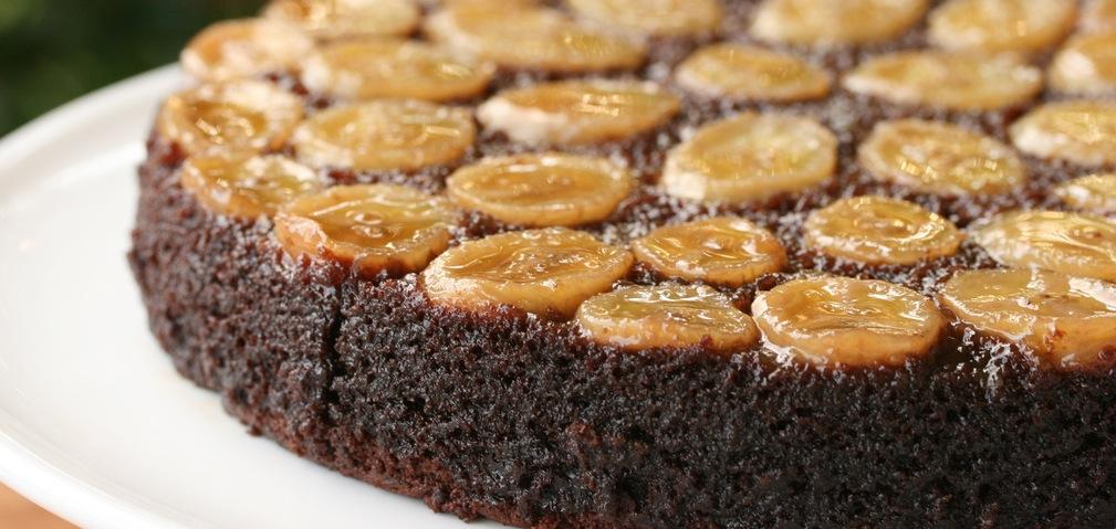 Recipe Chocolate-Caramel-Banana Upside-Down Cake
