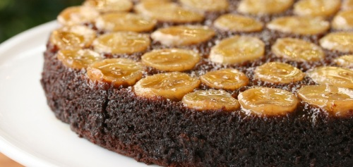 Recipe Chocolate-Caramel-Banana Upside-Down Cake