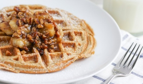 Recipe Pecan Waffles with Roasted Pecan and Banana Syrup