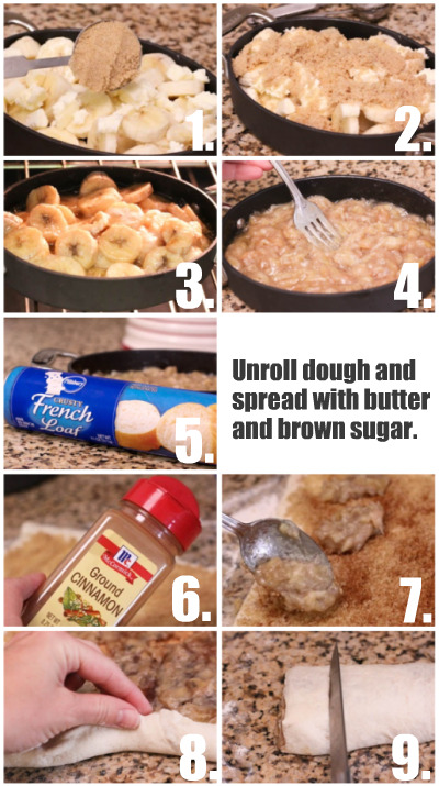 Recipe Roasted Banana Cinnamon Rolls Instructions