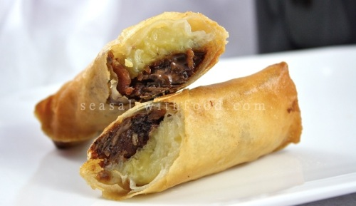 Recipe Banana, Bacon an Chocolate Spring Rolls
